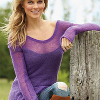 Sheer-Hair Off-Shoulder Sweater at Alloy