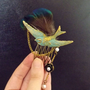 Antique gold crystal hair comb, vintage fascinator, bird hair jewelry, peacock feather hair piece, OOAK,