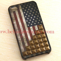 Vintage Flags studded iphone 4 case, America United States Flags studded iphone 4 case