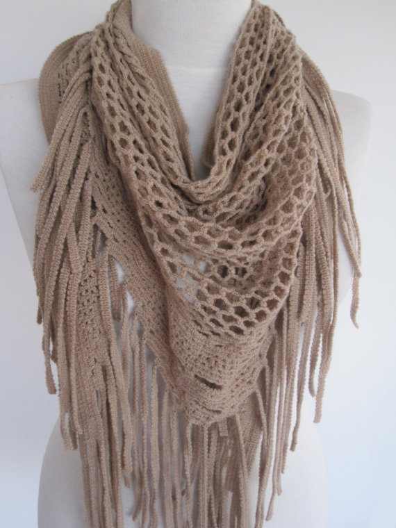 Beige Knitted Fringed Scarf / Shawl, Lace from mediterraneanlight