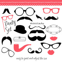 Clipart Set  DIY Photo Booth Printables  Best Wedding Party PropsPhoto Booth Clip Art