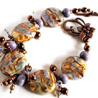 Lampwork Bead Bracelet Lavender Glass with Swarovski Crystal Earrings