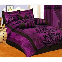 7 PC MODERN Black Purple Flock Satin COMFORTER SET / BED IN A BAG - QUEEN SIZE BEDDING