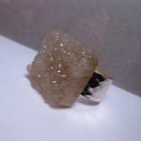 Natural Gem Smoky Quartz Druzy - Statement Ring - Grey White