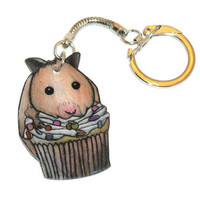 Hamster Cupcake Keychain, Key Chain, Shrinky Dinks, Food, Kawaii, Desert, Frosting, Shrink Plastic, Cute, Sweets, Mini, Miniature, Sprinkles