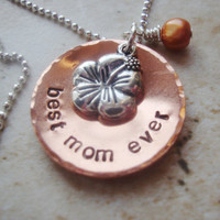 Best mom ever handstamped necklace with freshwater pearl