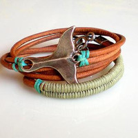 Friendship Bracelet Dark Natural  Leather Wrap Bracelet Antique Silver Whale Tail Light  Khaki  Turquoise Cotton Weave