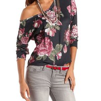 Lightweight Hi-Low Floral Sweater: Charlotte Russe