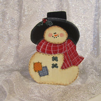 Snowman Wood Painted Country Patchwork Snowman Shelf Sitter