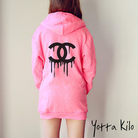 Unisex American Apparel Hoodies - Melted CHANEL - HOT PINK