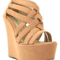 Qupid Kunis-10 Strappy Open Toe Platform Wedge NUDE (FREE SHIPPING on all add'l items)