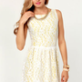 Daisy&#x27;d and Infused Yellow and White Lace Dress