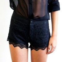 Drop Dead Dollbaby Boutique — LITTLE LACE Shorts (black)