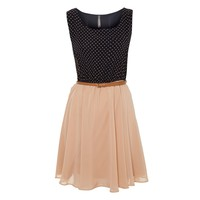 Contrast Spot Belted Dress