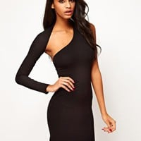 ASOS Bodycon Dress With One Sleeve at asos.com