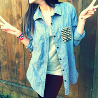 Studded Roxy Chambray Shirt