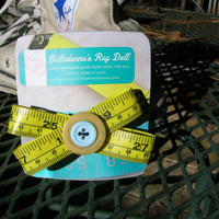 yellow and turquoise genuine measuring tape recycled handmade button hair bow, barrette, retro, quirky
