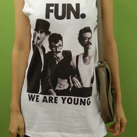 FUN - We are young with mustache - Rock Pop Band Billboard Singer - Womens Tank Top Mini Dress Printed White T Shirt Fan Light and Soft