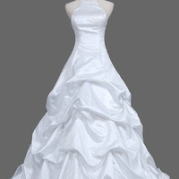 A-Line/Princess Halter Chapel Train Satin Wedding Dresses With Ruffles Beadwork