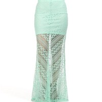 Mint Lace Maxi Skirt