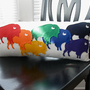 Buffalo Pride Rainbow Wool Felt Throw Pillow in Ivory Cotton