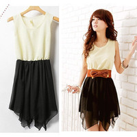 Korean Sweet Women Summer Fashion Irregular Skirts Chiffon Mini Dress Top Casua