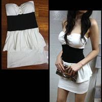 New Fashion Women Sexy White Black Strapless Clubbing Party Mini Dress Size L