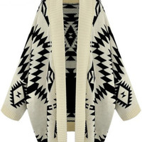 Apricot Batwing Long Sleeve Geometric Cardigan Sweater - Sheinside.com