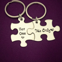 Her One, His Only - Hand Stamped Puzzle Piece Keychain Set - Great Couple Key Chain Gift - Wedding, Anniversary or Birthday Present