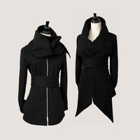 Statement Tie Fleece Knit Sweater Jacket...black
