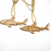 best friends shark necklace set - personalized custom jewelry bff necklace