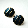 Vintage Blue Avon Sparkly Round Earrings