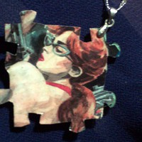 Pinup pendant, one of a kind handmade reycled comic and puzzle