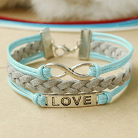 Infinity Bracelet- love symbol bracelet -sky blue and grey combination bracelet for every girls