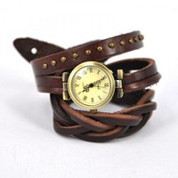 Vintage Brown Wrap Leather Strap Watch