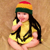 Baby Rasta Beanie Wig Christmas Gift Idea Toddler Costume, Baby Hat, Yellow Green Rasta, Baby Rasta Dreads, Black Dreadlocks, Baby Wig