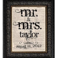 Custom Wedding Gift MR MRS Last Name Wedding Date Personalized Wedding Sign Vintage Art Print