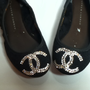 Black Chanel Ballet Flats Swarovski Rhinestoned Cc Logo
