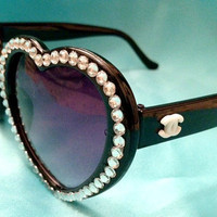Black Chanel Inspired Rhinestone Heart Sunglasses
