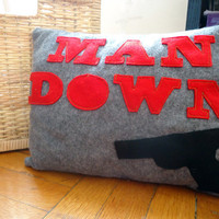 Man Down 15 x 11 Felt Pillow by TiffanyVanessa on Etsy