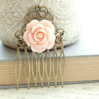 Flower Hair Combs, Flowers For Hair, Rose Hair Accessories, Pink Peach Rose, Antique Brass Filigree, Metal Hair Combs, One Piece