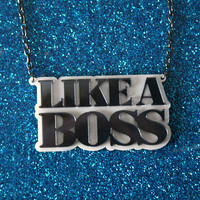 Huge laser cut acrylic Like A Boss necklace by SVJewellery on Etsy