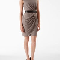 belted drape front dress - Dresses- Calvin Klein