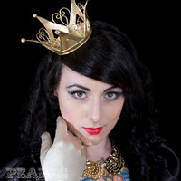 Gold Crown Alice in Wonderland Queen Princess Gothic Lolita Fascinator Burlesque Bride Goth Steampunk Accessory from Pearls &amp; Swine