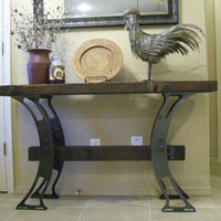 Industrial Inspired Console / Buffet table Reclaimed wood loft metal steel