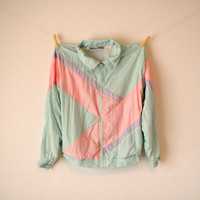Vintage. 80's Pastel Windbreaker Jacket. Color Block. Mint Green. Pink. Lavender. Collar. Zip Up. Bomber Jacket. Hipster. Retro. S/M Petite