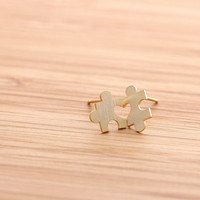 tiny HEART puzzle stud earrings, in gold
