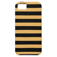 Beeswax Color And Horizontal Black Stripes Pattern iPhone 5 Covers