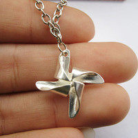 necklace---silver little windmill pendant & alloy chain