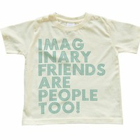 Child Tee Imaginary Friends Are People Too Design on Soft Yellow TODDLER Tee Tshirt Size 2t, 3t, 4t, 5/6t